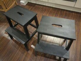 2 black Ikea BEKVÄM step stolls