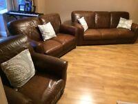 Paul Adams, 3 piece suite, brown chestnut leather, light family use, no damage.