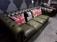 Stunning Vintage 70s Chesterfield 4 Seater Sofa Olive Green Leather UK Delivery