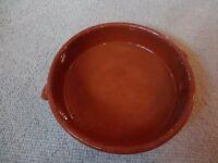 Glazed terracotta ovenproof casserole
