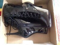 Black Patent Ankle Boots size 6 never worn