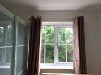 Brown Eyelet Curtains with Silver Curtain Pole