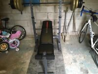 Weight bench and weights black ones not included
