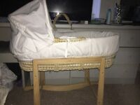 White and Grey Moses Basket with Rocking stand