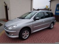 * * *NEW AD * * * CHEAP CAR, Peugeot 206 SW Estate, YEARS MOT / LOW MILEAGE / F.S.H. / BARGAIN !