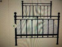 Double bed frame Black with wood slats