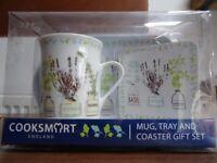 Mug set: mug, tray and coaster gift set. Unopened