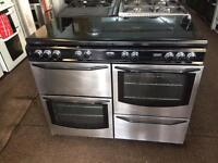 Stainless steel stoves 110cm seven burners gas cooker grill & double fan oven with guarantee