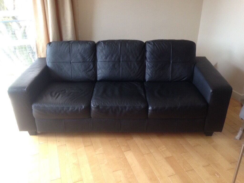 Black Leather Ikea Sofa 3 Seater