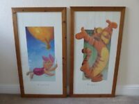 Two beautiful Winnie the Poo pictures in wooden frames
