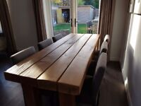 Solid Oak Dining Room Table, with Matching Coffee Table