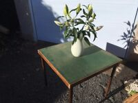 Folding card table with green baize top