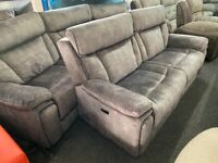 NEW EX DISPLAY LAZYBOY VANTAGE GREY 3 SEATER ELECTRIC RECLINER + 4 SEATER CURVED SOFAS 70%Off RRP