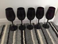 Black Dinner set with wine glasses and mugs