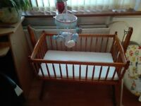 Swinging Cradle with Mattress and Baby Cot Mobile