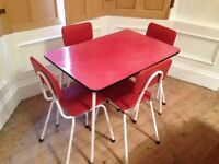 1960's red breakfast table with 4 chairs.