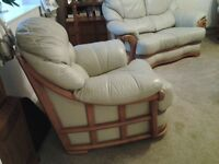 2 Seater Sofa, 2 Chairs, Cream Leather with yew wood trim