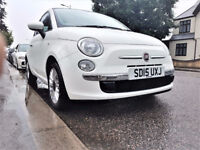 (White & Nice)-- 2015 Fiat 500 -- 1.2 Lounge (start/stop) 10800 Miles -- Very Low Mileage-- Fiat 500
