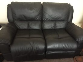 Recliner sofa 2 seater black leather