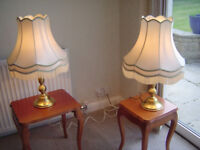 Pair of brass table lamps with shades & bulbs.