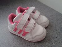Adidas baby girl pink trainers (infant size 5)