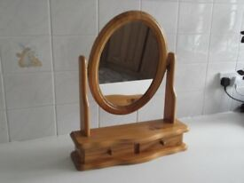 Pine oval dressing table mirror with draw under