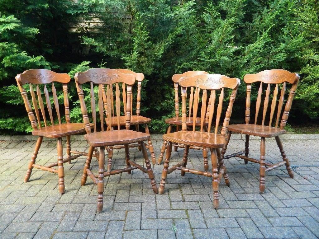 6 Solid Oak Country Kitchen Chairs (Heavy)