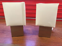 2 Brushed Touch Lamps with Cream Shades