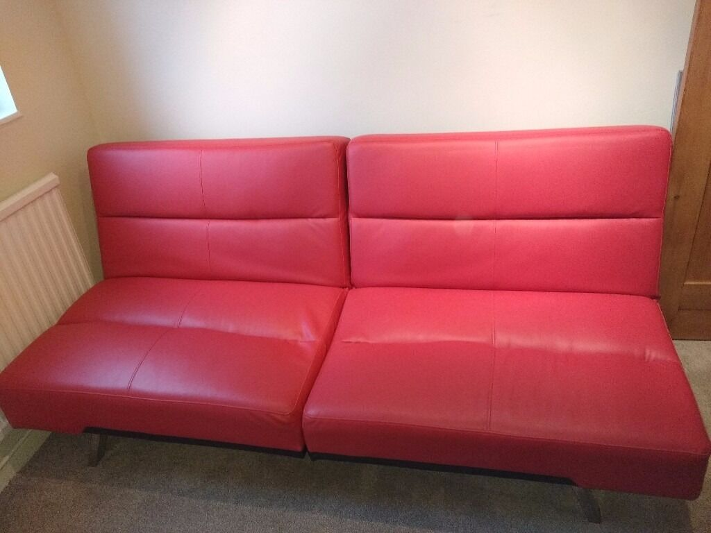 Asda George Red Click Clack Sofa Bed Faux Leather