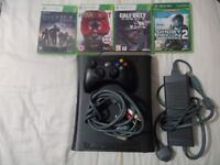 XBOX 360 CONSOLE WITH GAMES.