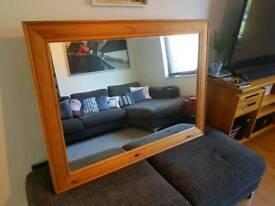 Large Pine Wooden Rectangular Mirror - 118cm x 88cm