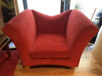 RED FABRIC ARMCHAIR - £25