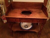 Antique Pine Washstand with bowl