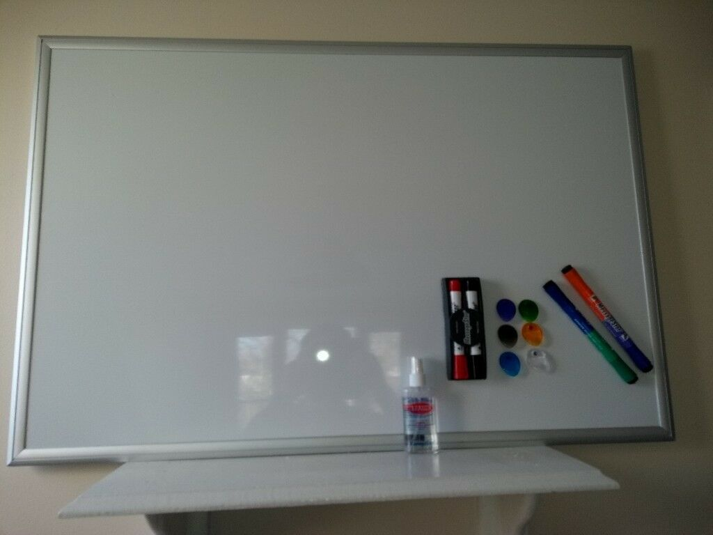 COSTCO Bi-Office Whiteboard 600 x 900mm Silver Frame with 6 markers ...