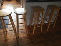 Wooden kitchen stools x4