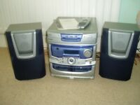 Bush CD Mini Stereo System 3 disc multiplay. Model MN33RM, 2 speakers, remote control & instructions