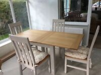 Marks and Spencers extendable table and 4 chairs