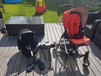 Mamas and Papas travel system: Pushchair, car seat (group 0) , isofix base