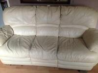 Free cream leather recliner 3 seater sofa