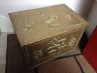 Old fashioned coal box with sailing ship images, wooden inner & metal coal caddy with handles inside