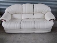 Cream Full Leather 3-1-1 Suite (Sofa)