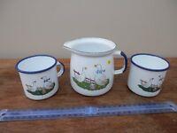 Goose themed enamel jug and mugs