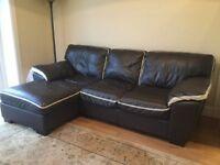 3 seater corner sofa (left corner) brown leather with ivory trim
