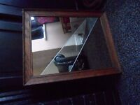 vintage oak mirror , refitted with bespoke two tone glass, art deco style.