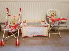 WINNIE THE POOH PUSHCHAIR, COT & HIGHCHAIR DOLL SET EX CON