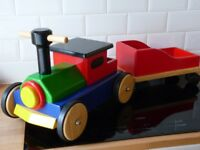 Colourful Wooden Ride on Train and Trailer/Tender by John Crane