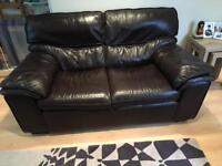 Dark brown three piece leather suite, 3+2+1 originally from Sterling Furniture