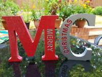 Wooden freestanding hand painted letters
