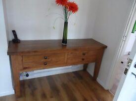 solid oak console table unit