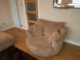 Left hand facing corner sofa, Swivel Chair & Foot Stool for sale
